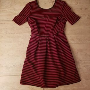 Stripped Skater Dress with Pockets